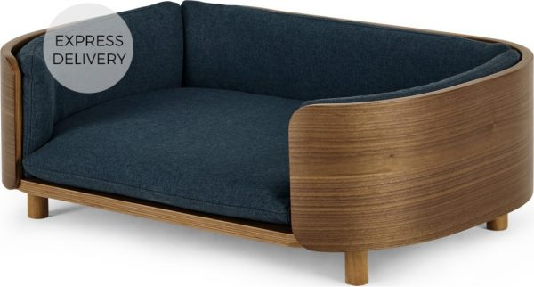 Kyali Dog Sofa, Natural Walnut and Navy, S/M