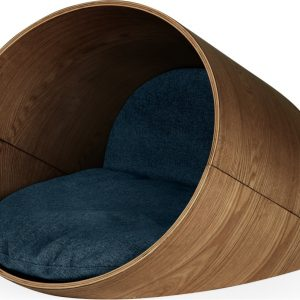 Kyali Medium Oval Pet Bed Natural Walnut and Navy