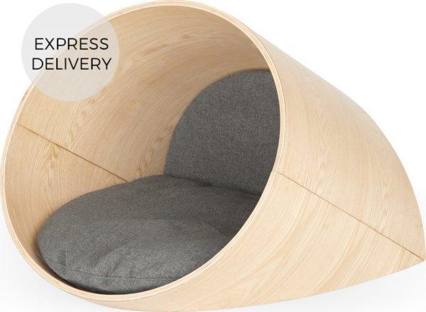 Kyali Oval Pet Bed Medium, Natural Ash and Grey