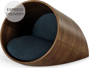 Kyali Oval Pet Bed Small, Natural Walnut and Navy