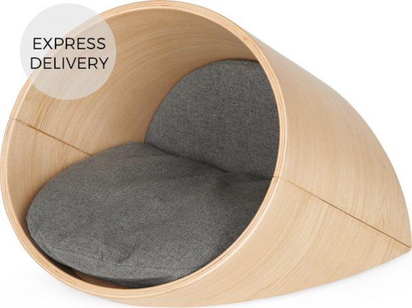 Kyali Small Oval Pet Bed, Natural Ash and Grey