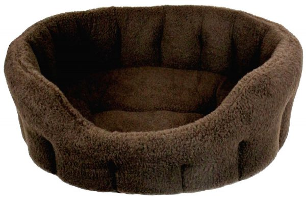 Fleece Material Softee Beds Dark Brown