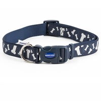 Ancol Navy Reflective Bones Adjustable Dog Fashion Collar