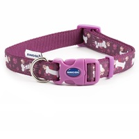 Ancol Purple Bone Adjustable Dog Fashion Collar