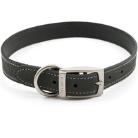 Ancol Timberwolf Grey Leather Dog Collar