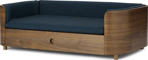 Kyali Dog Sofa + Storage, Natural Walnut & Navy, L /XL