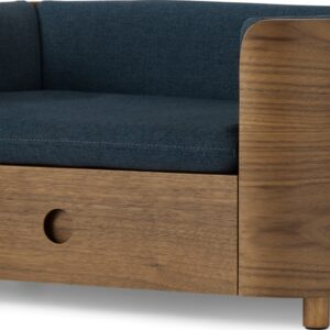 Kyali Dog Sofa + Storage, Natural Walnut & Navy, S/M