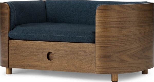 Kyali Dog Sofa + Storage, Natural Walnut & Navy, S/M