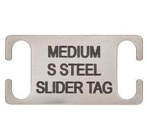 Medium Laser Engraved Stainless Steel Slide on Collar Tags