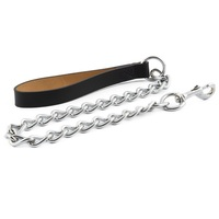Ancol Heritage Heavy Chain Lead & Leather Handle
