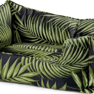Kysler Pet Bed, Extra Large, Green Leaf Print Velvet