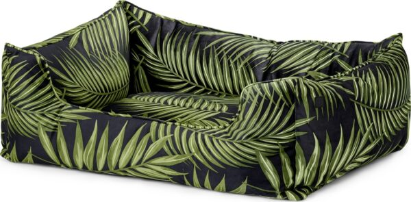 Kysler Pet Bed, Medium, Green Leaf Print Velvet