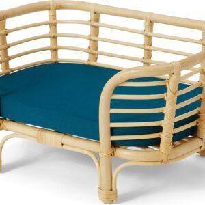 Syla Rattan Pet Bed, Natural & Green, S/M