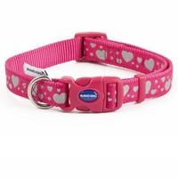 Ancol Pink Reflective Hearts Adjustable Dog Collar