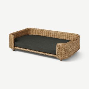 Akila Rectangle Dog Bed, L/XL, Natural Rattan & Grey