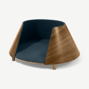 Kyali Round Pet Bed, S/M, Natural Walnut & Navy