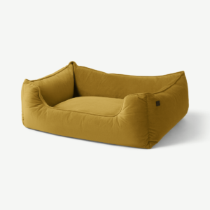 Kysler Pet Bed, Extra Large, Antique Gold Velvet