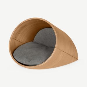 Kyali Oval Pet Bed, Medium, Natural Ash & Grey
